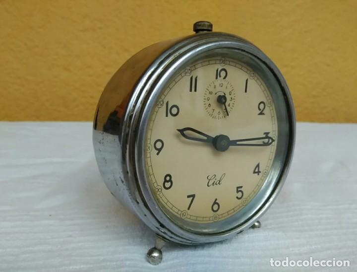 Relojes de pie: Antiguo reloj despertador de cuerda años 50, marca CID - Foto 3 - 196052530