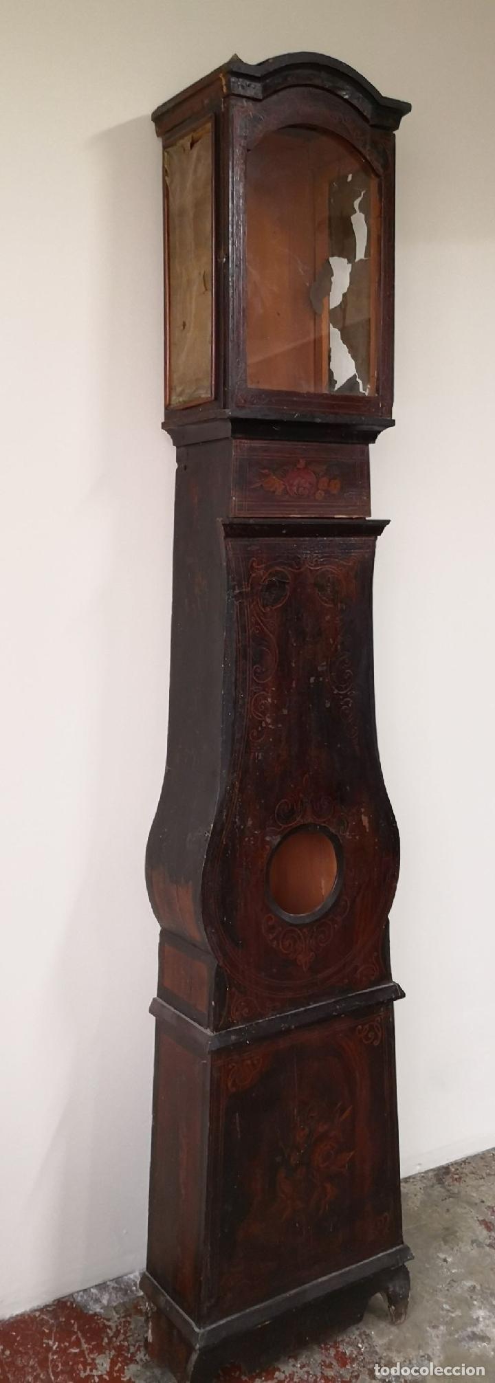 Relojes de pie: ESTRUCTURA DE RELOJ DE PIE. MADERA POLICROMADA. ESPAÑA. SIGLO XIX. - Foto 5 - 197312920