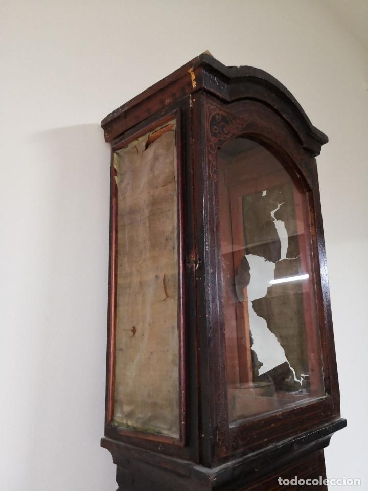 Relojes de pie: ESTRUCTURA DE RELOJ DE PIE. MADERA POLICROMADA. ESPAÑA. SIGLO XIX. - Foto 6 - 197312920