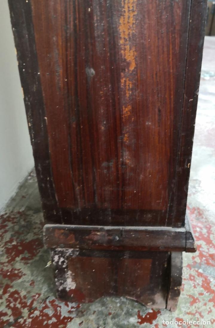 Relojes de pie: ESTRUCTURA DE RELOJ DE PIE. MADERA POLICROMADA. ESPAÑA. SIGLO XIX. - Foto 8 - 197312920