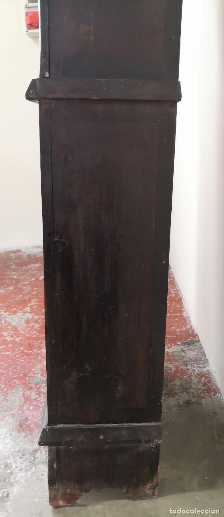 Relojes de pie: ESTRUCTURA DE RELOJ DE PIE. MADERA POLICROMADA. ESPAÑA. SIGLO XIX. - Foto 14 - 197312920