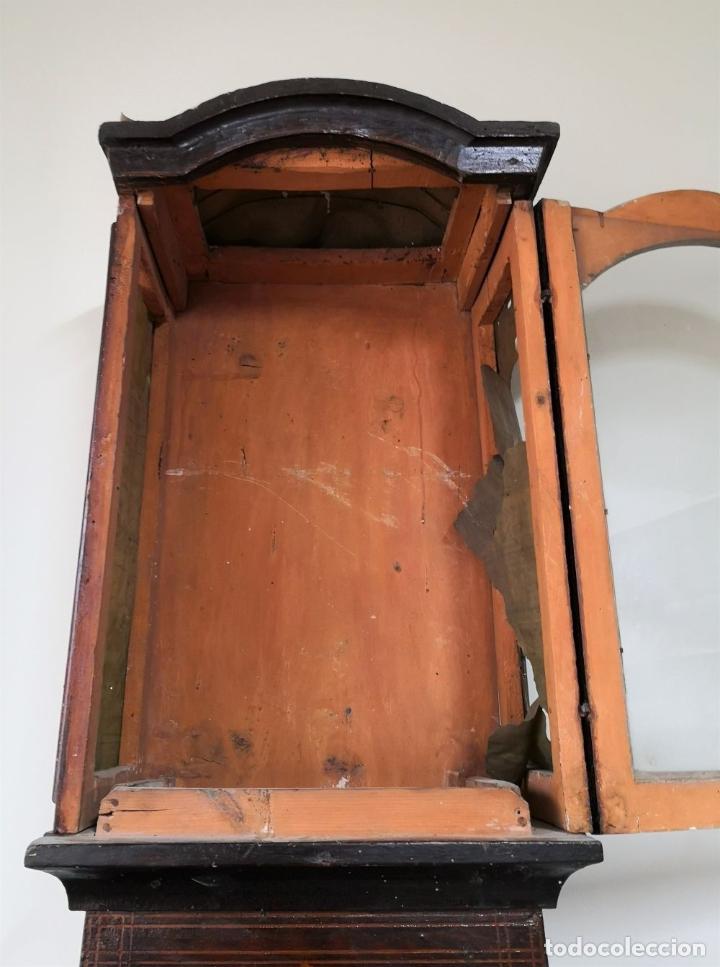 Relojes de pie: ESTRUCTURA DE RELOJ DE PIE. MADERA POLICROMADA. ESPAÑA. SIGLO XIX. - Foto 15 - 197312920