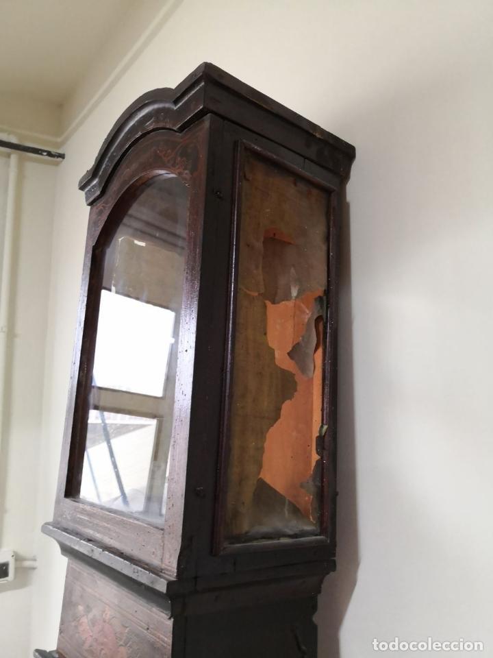 Relojes de pie: ESTRUCTURA DE RELOJ DE PIE. MADERA POLICROMADA. ESPAÑA. SIGLO XIX. - Foto 12 - 197312920