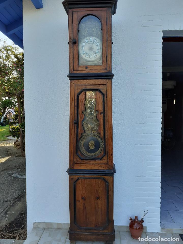 RELOJ MOREZ MEDIDADOS DEL XIX; 2 METROS Y MEDIO, ESFERA EN ALABASTRO, SONERÍA DE CAMPANA Y GONG (Relojes - Pie Carga Manual)