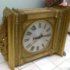 Relojes de pie: ANTIGUO E IMPRESIONANTE RELOJ ESCULTURA DE BRONCE FIRMADO. Lote 214410618