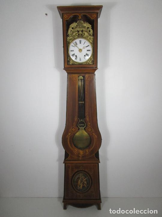 ANTIGUO RELOJ DE PIE - MAQUINA MOREZ - PÉNDULO DE LIRA - COMPLETO - FUNCIONA - S. XIX (Relojes - Pie Carga Manual)