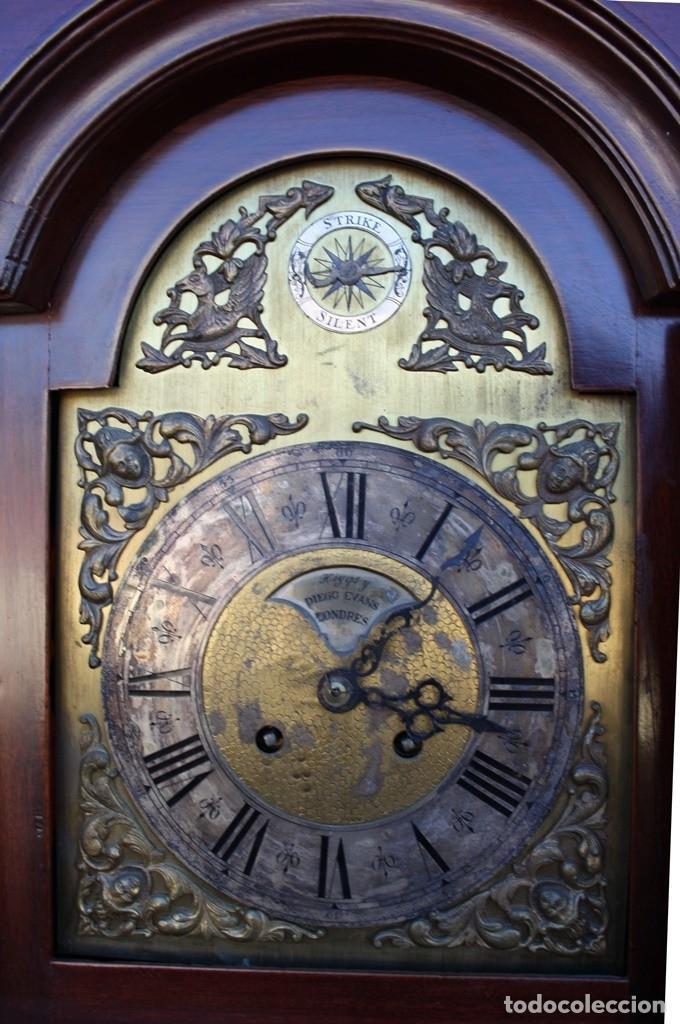 Relojes de pie: RELOJ DE PIE HIYGS Y DIEGO EVANS LONDRES CARGA MANUAL SONERIA HORAS Y MEDIAS CAJA MADERA FOTOGRAFIAS - Foto 5 - 232638175