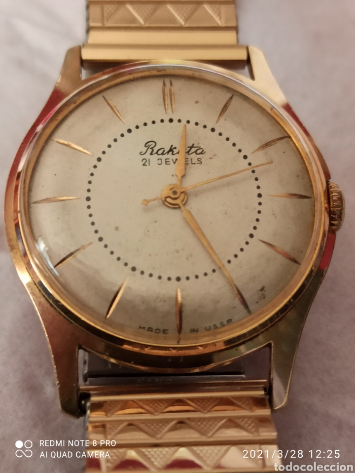 RELOJ RAKETA 21 JEWELS CHAPADO 20 MICRAS ORO DE CARGA MANUAL FUNCIONA BIEN (Relojes - Pie Carga Manual)
