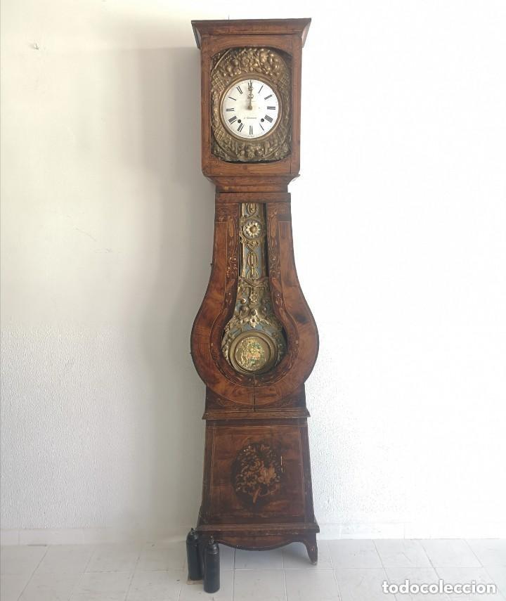 ELEGANTE RELOJ DE PARED MOREY FUNCIONANDO CON SONERIAS Y PENDULO EN CAJA PATINADA FRANCIA S XIX (Relojes - Pie Carga Manual)