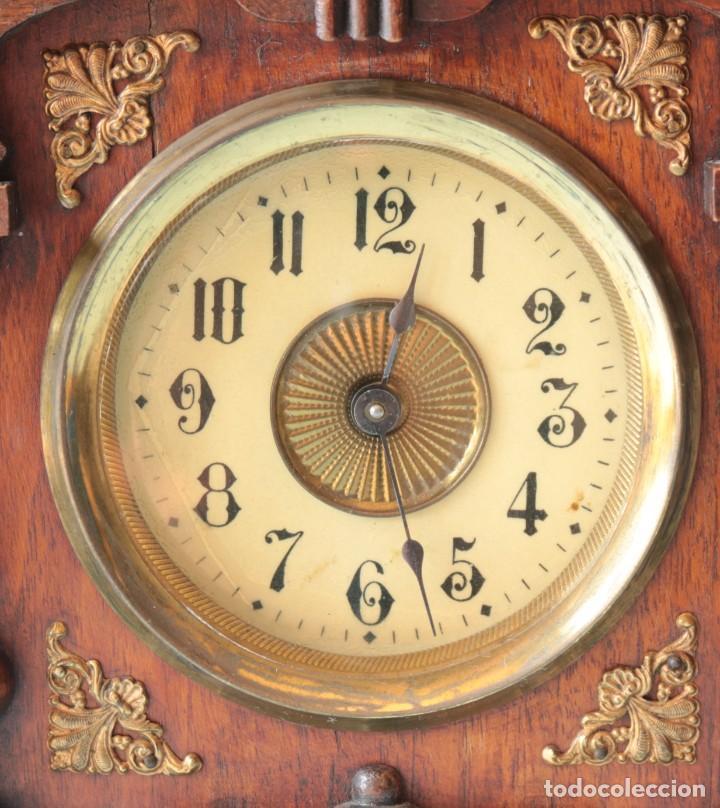 Relojes de pie: Reloj austriaca con despertador organillo. Austrian clock with barrel organ alarm clock. - Foto 5 - 260028285