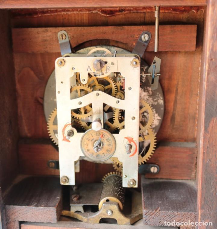 Relojes de pie: Reloj austriaca con despertador organillo. Austrian clock with barrel organ alarm clock. - Foto 10 - 260028285
