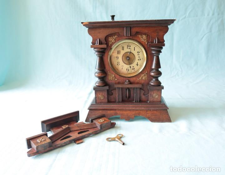 Relojes de pie: Reloj austriaca con despertador organillo. Austrian clock with barrel organ alarm clock. - Foto 12 - 260028285