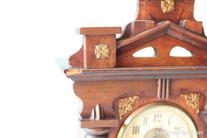 Relojes de pie: Reloj austriaca con despertador organillo. Austrian clock with barrel organ alarm clock. - Foto 13 - 260028285