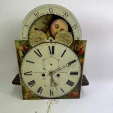 Relojes de pie: RELOJ DE PIE CON FASES LUNARES. FALTA LA CAJA, LOS PESOS Y LOS PENDIULOS. S.XIX.. Lote 266476613
