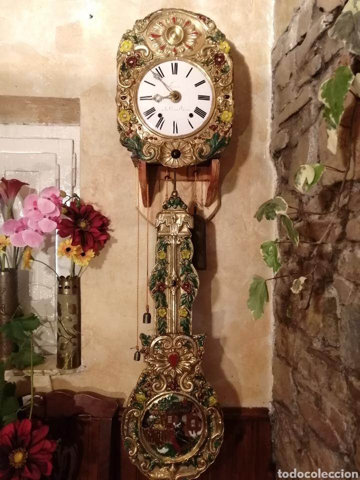 Relojes de pie: Reloj Morez autómata movimiento ladrón de manzanas - Foto 3 - 268894309