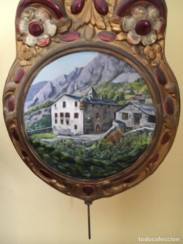 ANDORRA - ANTIGUO RELOJ MOREZ - SIGLO XIX – PENDULO PINTURA CASA DE LA VALL ANDORRA (Relojes - Pie Carga Manual)
