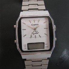 Relojes de pulsera: RARO RELOJ DE CUERDA Y ELECTRICO CANON AÑOS 70. Lote 25043816