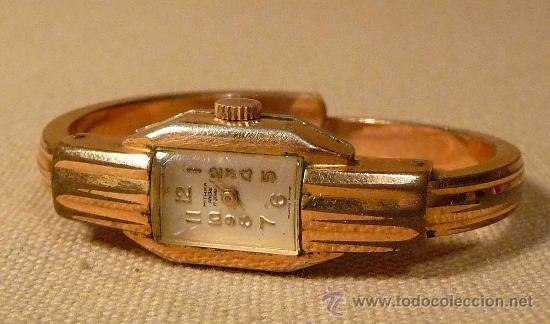 Relojes de pulsera: ANTIGUO RELOJ PULSERA, RIGIDA, DE DAMA, A CUERDA, MITHRA ANCRE, 17 RUBIES, ORO PLAQUE 10 - Foto 2 - 22457576