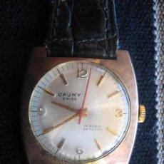 Relojes de pulsera: RELOJ CAUNY CADETE SWISS 17 RUBIS ANTICHOC FOND ACER INOXYDABLE FUNCIONA EN VER FOTOS. Lote 27216804