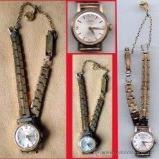 Relojes de pulsera: RELOJ DE PULSERA SEÑORA CHAPADO EN ORO A CUERDA -RADIANT- SUIZO,CADENA LABRADA Y CADENA DE SEGURIDA. Lote 31322877