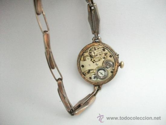 Relojes de pulsera: Antiguo y raro Reloj de Pulsera de Dama - Esfera Porcelana - Años 30 Completo,para reparar - Foto 9 - 32206708