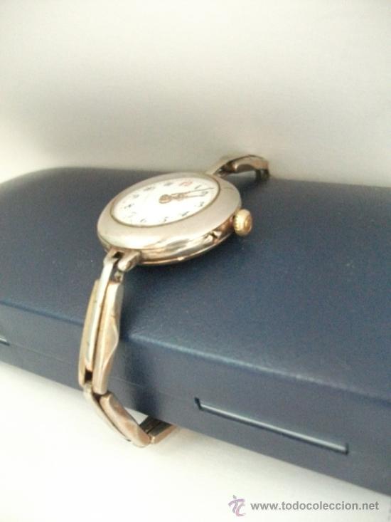 Relojes de pulsera: Antiguo y raro Reloj de Pulsera de Dama - Esfera Porcelana - Años 30 Completo,para reparar - Foto 10 - 32206708