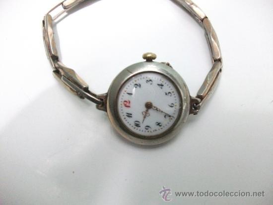 Relojes de pulsera: Antiguo y raro Reloj de Pulsera de Dama - Esfera Porcelana - Años 30 Completo,para reparar - Foto 5 - 32206708