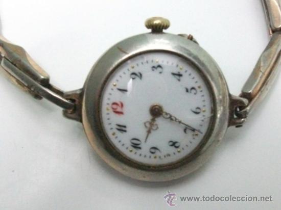 Relojes de pulsera: Antiguo y raro Reloj de Pulsera de Dama - Esfera Porcelana - Años 30 Completo,para reparar - Foto 4 - 32206708