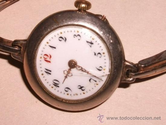 Relojes de pulsera: Antiguo y raro Reloj de Pulsera de Dama - Esfera Porcelana - Años 30 Completo,para reparar - Foto 2 - 32206708