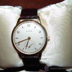 Relojes de pulsera: RELOJ MARCA CYMA CON CAJA DE ORO Y CORREA DE PIEL DE COCODRILO. Lote 34223379