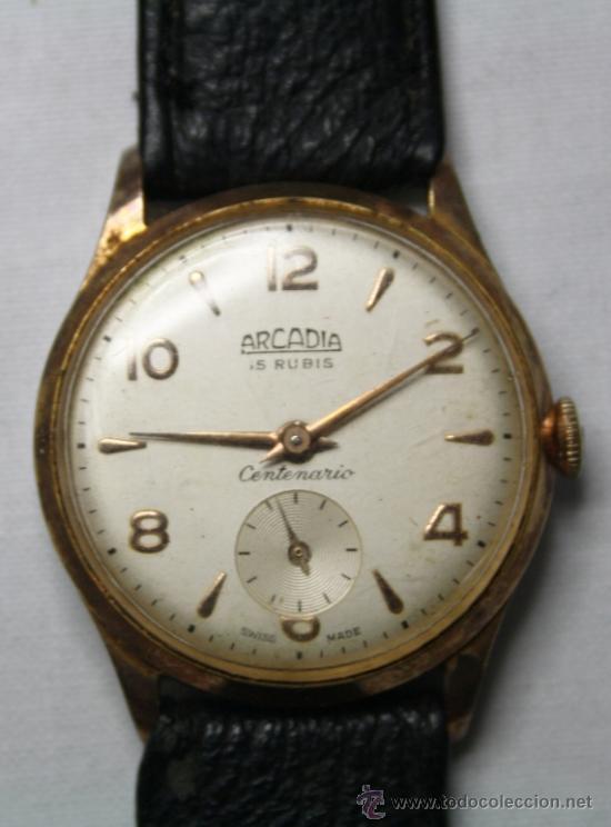 RELOJ ARCADIA CENTENARIO MOVIMIENTO A CUERDA CHAPADO ORO 10 MICRONES - FUNCIONANDO (Relojes - Pulsera Carga Manual)
