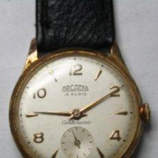 Relojes de pulsera: RELOJ ARCADIA CENTENARIO MOVIMIENTO A CUERDA CHAPADO ORO 10 MICRONES - FUNCIONANDO. Lote 35411708
