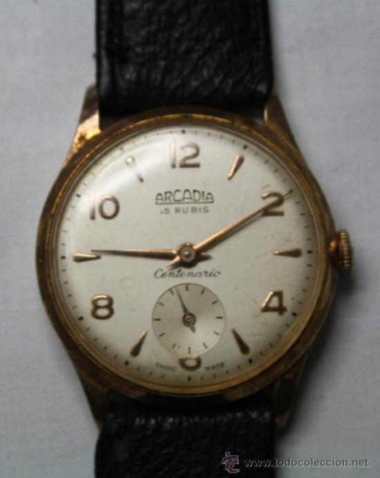 Relojes de pulsera: Reloj Arcadia Centenario Movimiento a Cuerda Chapado Oro 10 Micrones - Funcionando - Foto 4 - 35411708