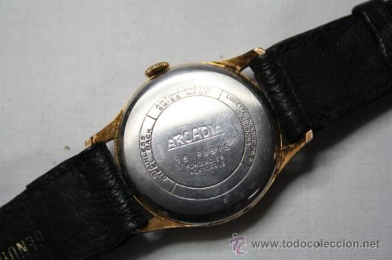 Relojes de pulsera: Reloj Arcadia Centenario Movimiento a Cuerda Chapado Oro 10 Micrones - Funcionando - Foto 3 - 35411708