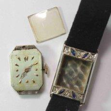 Relojes de pulsera: RELOJ MUJER ART DECO ORO BLANCO, BRILLANTES Y ZAFIROS.-ART DECO GOLD WATCH WOMEN WHITE, BRIGHT AND S. Lote 37984007