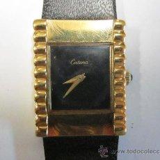 Relojes de pulsera: RELOJ DE SEÑORA CATENA. ESFERA NEGRA SIN NUMERACIÓN. 18 KILATES GOLD ELECTROPLATED. 17 JEWELS SWISS.. Lote 38026883
