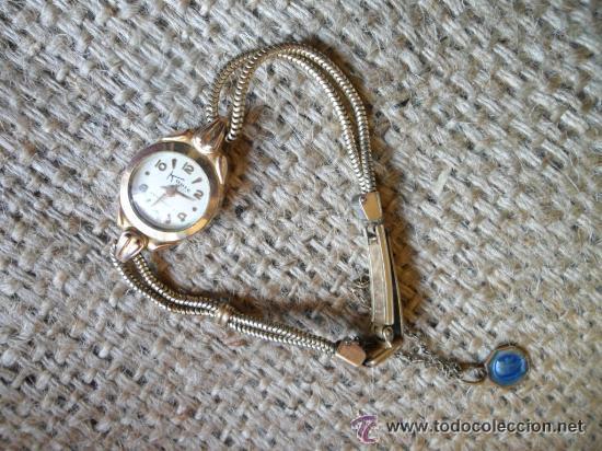 Relojes de pulsera: RELOJ DE PULSERA DE SEÑORA CON BAÑO DE ORO Y CAJA DE ACERO - MARCA KOUCE - SUIZO - Foto 4 - 38404853