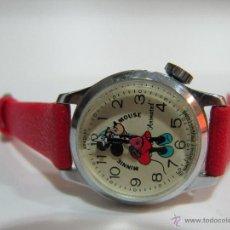 Relojes de pulsera: RELOJ MINNIE MOUSE BRADLEY CARGA MANUAL CON MOVIMIENTO EN LA CABEZA CORREA ORIGINAL VINTAGE AÑOS 80. Lote 41725802
