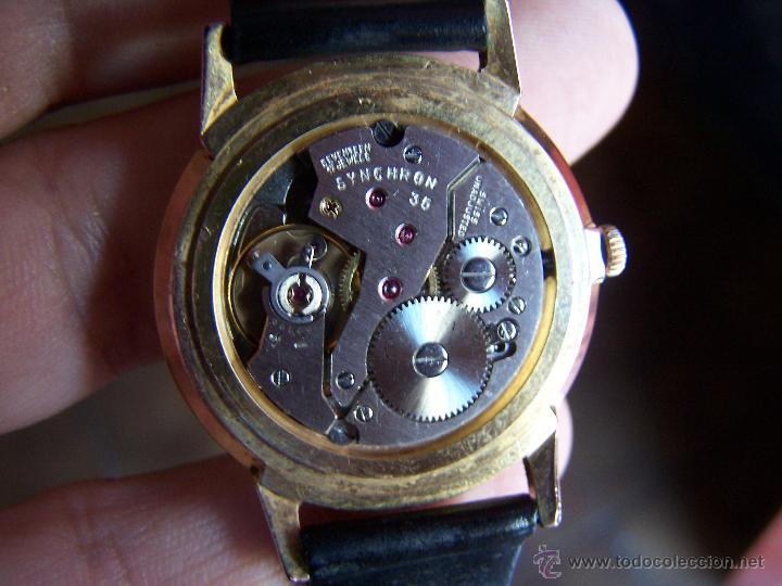 Relojes de pulsera: Antiguo reloj de pulsera de carga manual y de caballero Cyma Syncrhon 35 - Foto 5 - 41764012