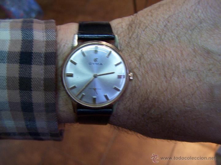 Relojes de pulsera: Antiguo reloj de pulsera de carga manual y de caballero Cyma Syncrhon 35 - Foto 25 - 41764012
