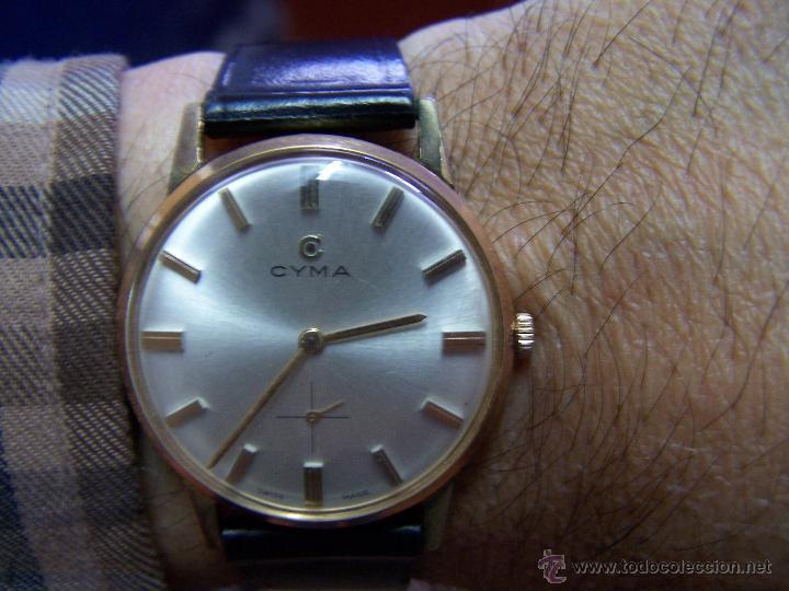 Relojes de pulsera: Antiguo reloj de pulsera de carga manual y de caballero Cyma Syncrhon 35 - Foto 26 - 41764012