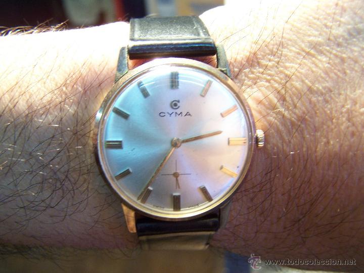 Relojes de pulsera: Antiguo reloj de pulsera de carga manual y de caballero Cyma Syncrhon 35 - Foto 29 - 41764012