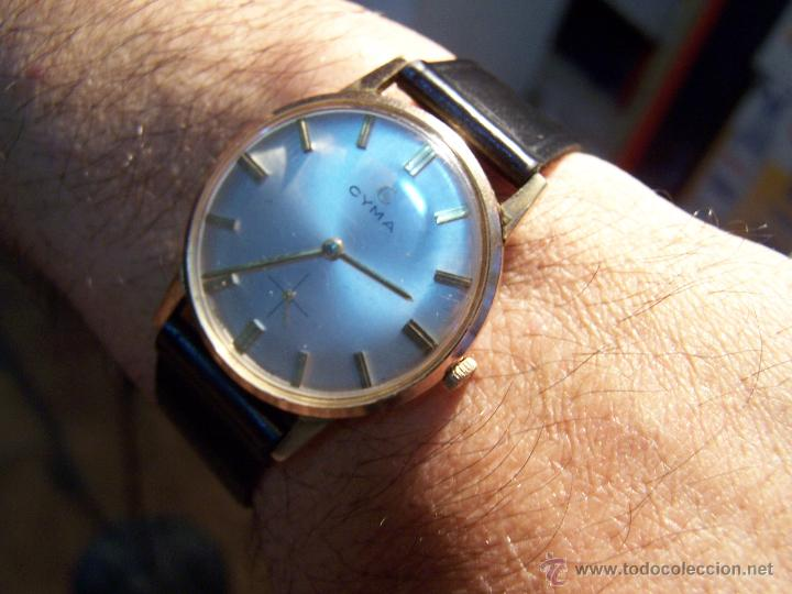 Relojes de pulsera: Antiguo reloj de pulsera de carga manual y de caballero Cyma Syncrhon 35 - Foto 30 - 41764012