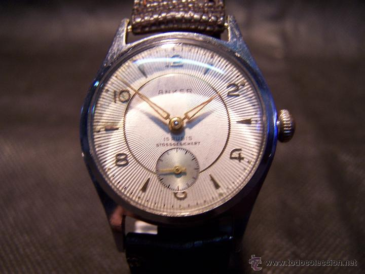 Relojes de pulsera: Antiguo reloj de pulsera de carga manual, ANKER - Foto 8 - 42036842