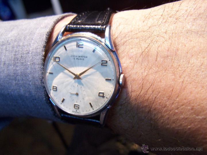 Relojes de pulsera: Reloj grande, de caballero, antiguo, de pulsera y de carga manual, JNSA WACTH OLYMPIC - Foto 3 - 42578749