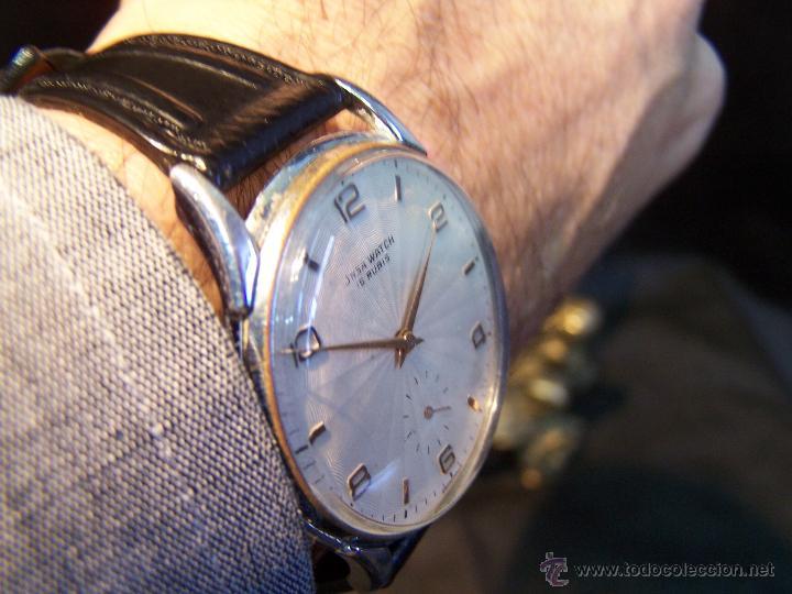 Relojes de pulsera: Reloj grande, de caballero, antiguo, de pulsera y de carga manual, JNSA WACTH OLYMPIC - Foto 9 - 42578749