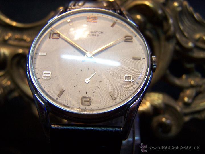 Relojes de pulsera: Reloj grande, de caballero, antiguo, de pulsera y de carga manual, JNSA WACTH OLYMPIC - Foto 21 - 42578749