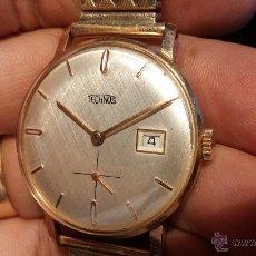 Relojes de pulsera: ANTIGUO RELOJ TECHNOS DE CABALLERO, IMPECABLE, COMO SALIDO DE LA RELOJERIA, AÑOS 60, CHAPADO EN ORO. Lote 43498072
