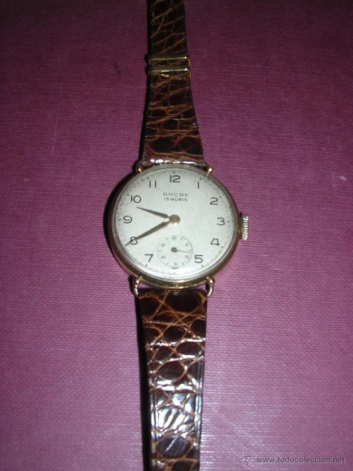 ANTIGUO RELOJ DE PULSERA DE ORO 18KL.CARGA MANUAL MARCA ANCRE 15 RUBIS PRECISA REPASO , (Relojes - Pulsera Carga Manual)