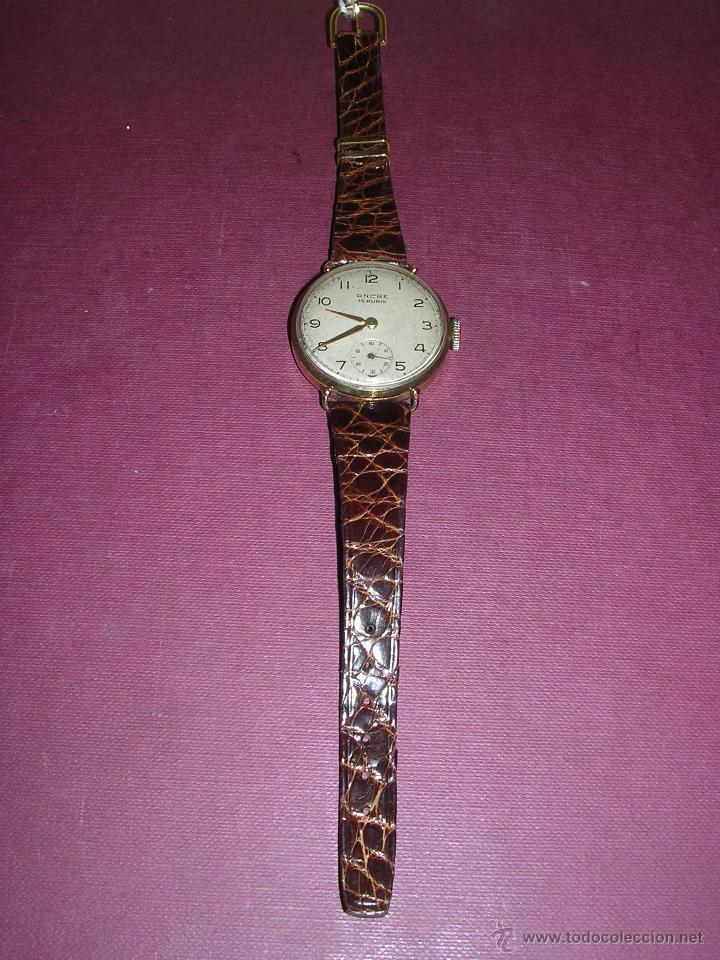 Relojes de pulsera: ANTIGUO RELOJ DE PULSERA DE ORO 18KL.CARGA MANUAL MARCA ANCRE 15 RUBIS PRECISA REPASO , - Foto 2 - 44204595